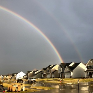 After the storm, a double rainbow...