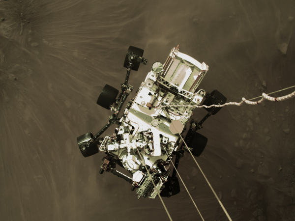 SkyCrane Lowers Perseverance on to Mars